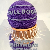 Basketball Boy Bday Buttercream with fondant accents