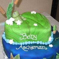 Frog Themed Baby Shower Cake for a Baby Shower with Frogs/Pond as a Theme. This was a lot of fun making!