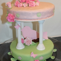 Birds Nest And Roses This is my 18th birthday cake. Fondant and gumpaste roses, leaves, butterflies, bird, and nest. Brush embroidered flowers on the sides. I...