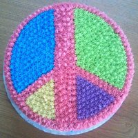"Peace Sign Cake 9"" round cake decorated with #16 star tip"