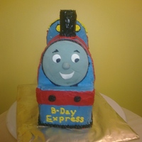 Thomas The Cake Engine! My son's third birthday cake, all butter cream with a gum paste face.