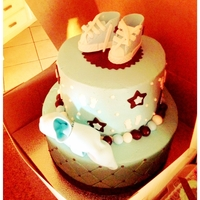 Boy Baby Shower All buttercrean with fondant accents.