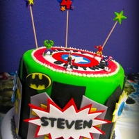 Super Hero Cake  This is a super hero themed birthday cake that I made for my friend's son's 4th birthday. He LOVED it and cried when it was cut!...
