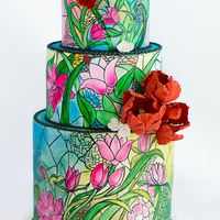 Stained Glass Wedding Cake Bold and colorful stained glass wedding cake