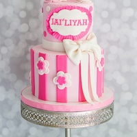 Pink And White Birthday Cake Girly 2nd birthday cake with a little white kitty topper