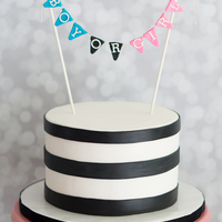 Black And White Gender Reveal Clean and simple gender reveal cake with black horizontal stripes