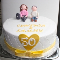 Golden Anniversary 50th Wedding anniversary cake