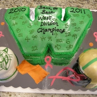 "End Of Season Celebration For The 7Th Grade Football Team ""W"" cake for our Wildcats, along with a wildcat and helmet. The pink shoelaces represent the boys support of breast cancer in..."
