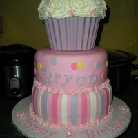 Giant Cupcake Cake 2-Tier birthday cake with giant cupcake in molded chocolate shell.