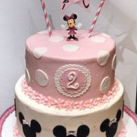 Minnie Mouse Themed Birthday Cake Bottom Tier Was 3 Layers Chocolate Cake Filled With Chocolate Buttercream Top Tier Was 3 Layers Vanilla Minnie Mouse themed birthday cake. Bottom tier was 3 layers chocolate cake filled with chocolate buttercream, top tier was 3 layers vanilla...