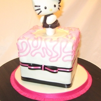 "Hello Kitty This is a 4.5"" cake. Just large enough to feed the bday girl. Hello Kitty was hand made.TFL"