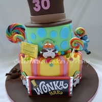Charlie And The Chocolate Factory Cake 3 tiered rainbow cake in theme of Willy Wonka. I was inspired by another picture similar to this on Cake Central x