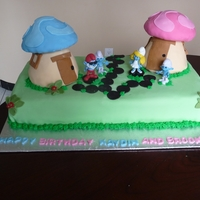 Smurfs Cake For A Boy And A Girl Smurfs Cake for a Brother and Sister