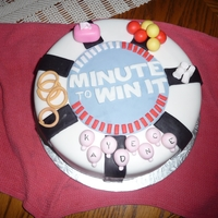 Minute To Win It   Cake made to replicate birthday party theme, all decorations are the ones used from games at the party