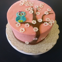 Owl And Cherry Blossoms buttercream and fondant owl, tree and blossoms