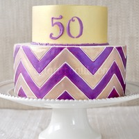 Hand Painted Chevron Cake For a friend's mom 50th.