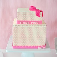 Think Pink! Breast Cancer Awareness Sweet Table Pink ribbon chocolate transfer cake.