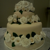This Was My First Wedding Cake :) The bride wanted an ivory cake with white roses.