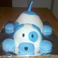 Blue Puppy Birthday Cake From scratch vanilla cake with chocolate buttercream filling, covered in MMF. For my son's 1st birthday. Inspired by the Pokey Little...