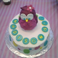 "Pink Owl- Whooo's Turning 1? From scratch- chocolate cake with cream cheese-buttercream filling, frosted with shortening/cream cheese ""buttercream"", with MMF..."
