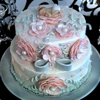 Elegant Pink And Grey Baby Shower Cake Elegant Pink and Grey Baby Shower Cake