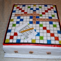Scrabble Cake Fondant game board and pieces, pad, and pencil. Squares drawn on with edible marker, painted with coloring gel, dried, then written in with...