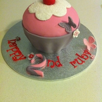 Giant Pink Cupcake   Made for a little girl :) Cake is white chocolate and raspberry and covered in ganache and fondant