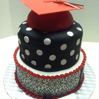 Red, Black, And White Graduation Cake  Bottom is buttercream icing with Wilton Damask Sugar sheet around the outside. top is buttercream covered in fondant. The hat is using half...