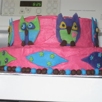 Owl Birthday Cake I did this cake for my best friend's birthday last year. Did everything in really bright colous, and just free handed the owls and...