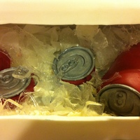 "Beer Can Cooler Cake With Sugar ""ice"" Esky / Cooler full of lemon flavoured ""beer Cans"" on sugar ""ice"""