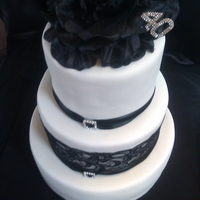 Black And White Wedding /40Th Cake This was for a wedding & 40th birthday all rolled into one. My first three tiered cake