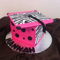 Pink And Zebra Grad Cake Chocolate with home made raspberry filling