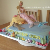 Barbie Mermaid Meets Flushed Away! I made this for a 4 year old who decided at the last minute she wanted a character from Flushed away .....all edible except Barbie tho u...