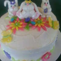 3 Little Bunnies made this cake for my little granddaughter who was in the hospital on Easter. iced with buttercream, and decorations are mm fondant