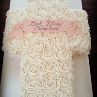 Rose Baptism Cross All BC with Fondant Banner
