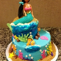 "Mermaid Customer wanted a mermaid, but not ""The Little Mermaid"", all decorations except the upper body of mermaid are made of a fondant/..."