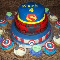 Superheroes! Captain America, Spiderman, Superman accents with fondant. Hulk, Thor, Captain America cupcakes with fondant accents.