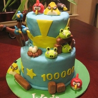 Angry Birds Cake Cake was chocolate cake with chocolate frosting. All decorations are fondant. Boys 10th birthday