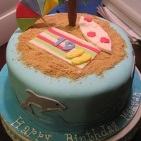 Beach Themed Birthday Cake Chocolate cake with oreo frosting. All decorations are fondant. Girls 19th birthday.