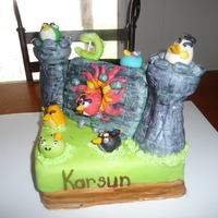 Angry Birds Cake Completely edible angry birds cake, castle made of RKT covered in MM Fondant