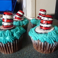 Cat In The Hat Cupcakes Fondant hats painted and detailed with edible marker
