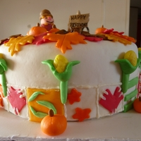 Thanksgiving Themed Birthday Cake All edible out of MM Fondant