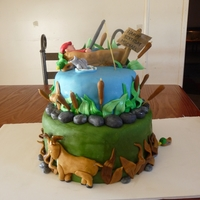 Hunting And Fishing Cake Two teir hunting and fishing cake, all edible