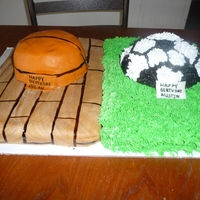 Basketball Andsoccer Birthday Cake Half and half cake, one half soccer one half basketball