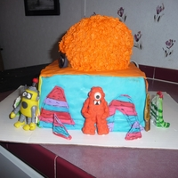 Yo Gabba Gabba All edible Yo Gabba Gabba cake, figures are made from mm fondant. Head is cake with frosting and mm fondant details. Complete with Foofa...