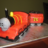 """james"" The Train Cake MM fondant covered cake - James the train except with a 25 instead of 5 (as the recipient of this cake actually turned 25!!)"