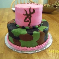 Browning Pink Camo Browning emblem made from fondant; piped out different shapes of icing, then smoothed with paper towel. Even the cake batter was camo...(...
