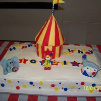 Circus Cake My friend wanted a circus cake for her grandson and she told me to put an elephant on it and the rest was up to me. The bottom was...