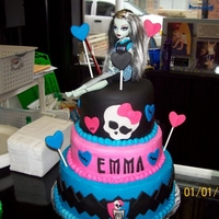 Monster High Monster High..3 tier..bottome 2 layers are buttercream with fondant decorations, top layer is fondant.