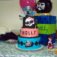 Monster High Cake My daughter wanted a 3 tier cake. The top layer is fondant, the middle and bottom layer is buttercream with fondant decorations. I got...